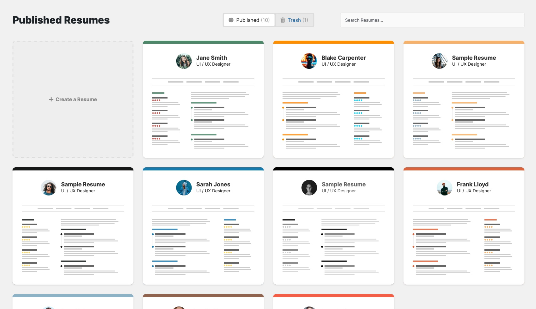 heres what the resume builder looks like in the admin