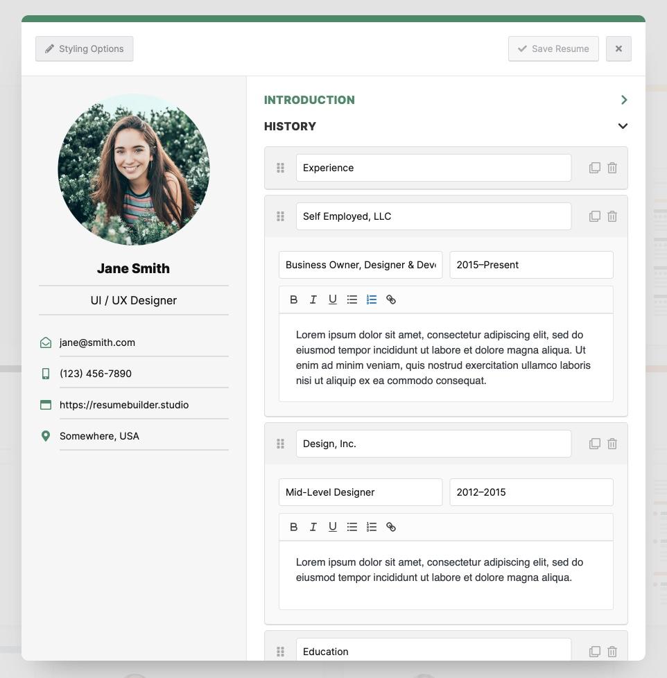 Resume Builer features of resume builder Resume Builder Screenshot 2