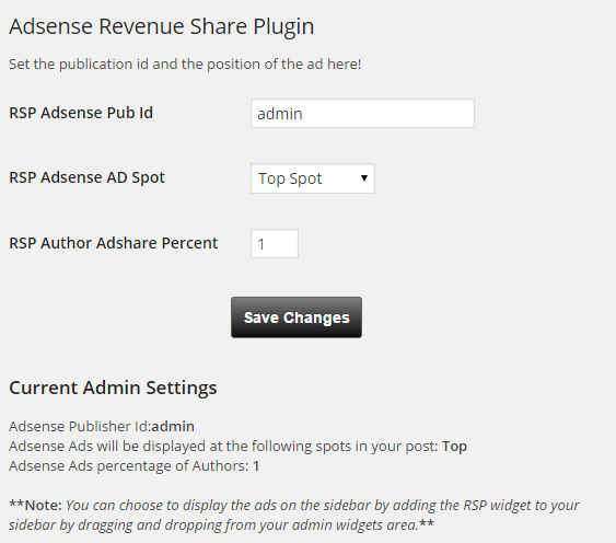 revenue-share-plugin-for-authorsrsp screenshot 1