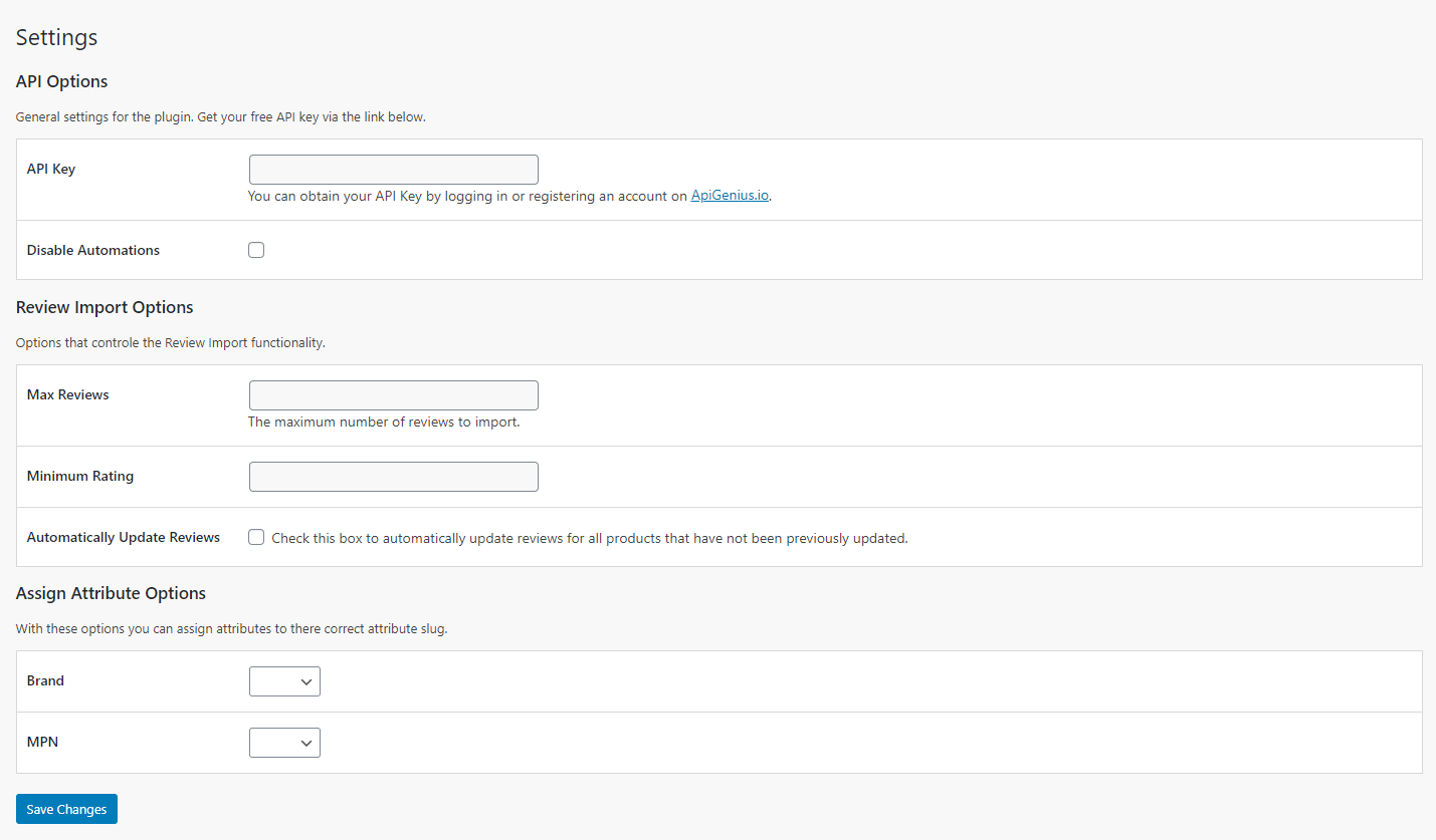 <p>The plugin settings page.</p>