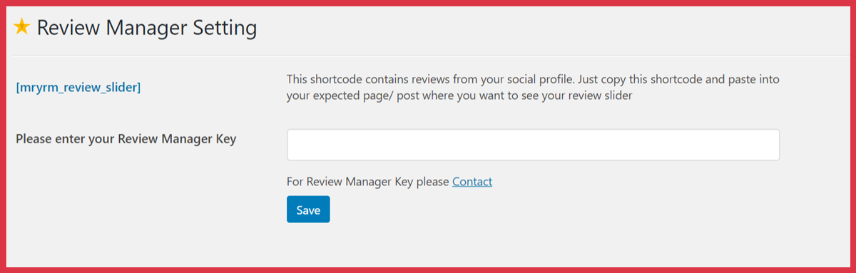 Review Manager Key Setting