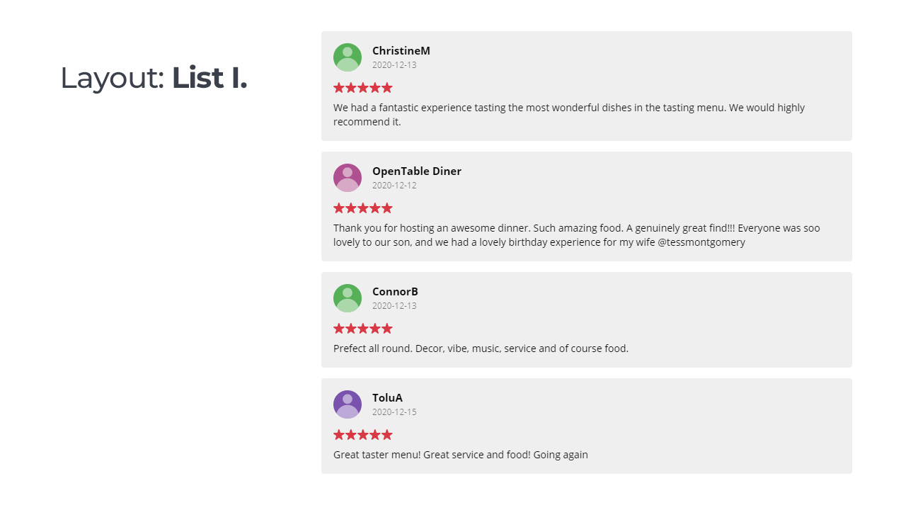 Widgets for Opentable Reviews