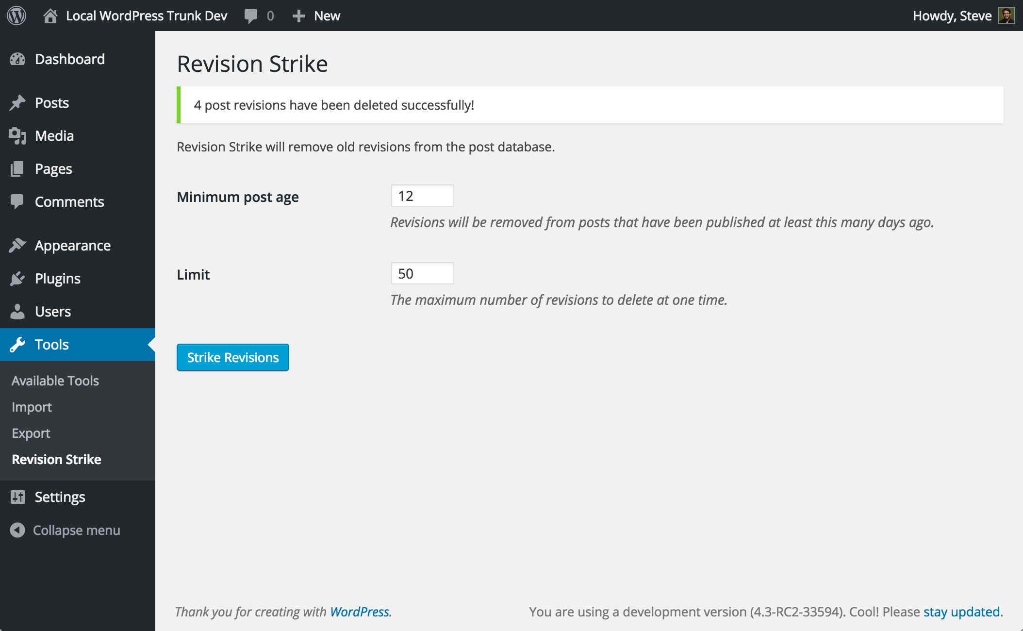 The Tools > Revision Strike page in action.