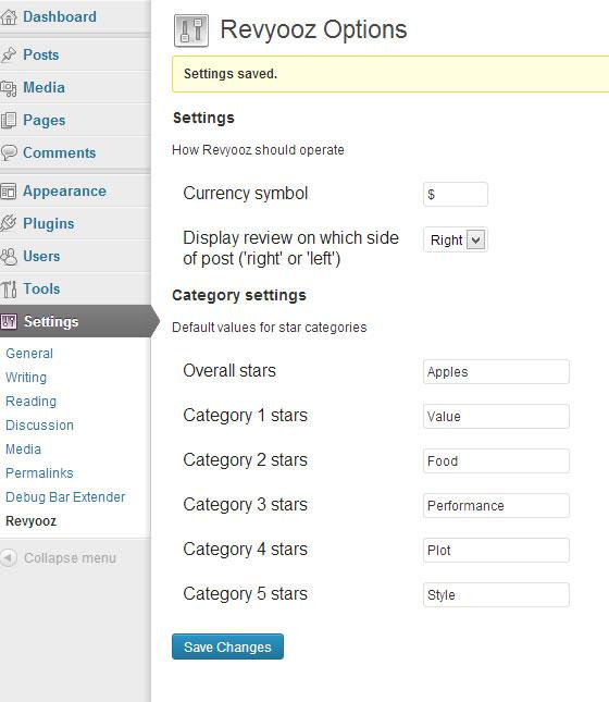 The options screen under Settings->Revyooz
