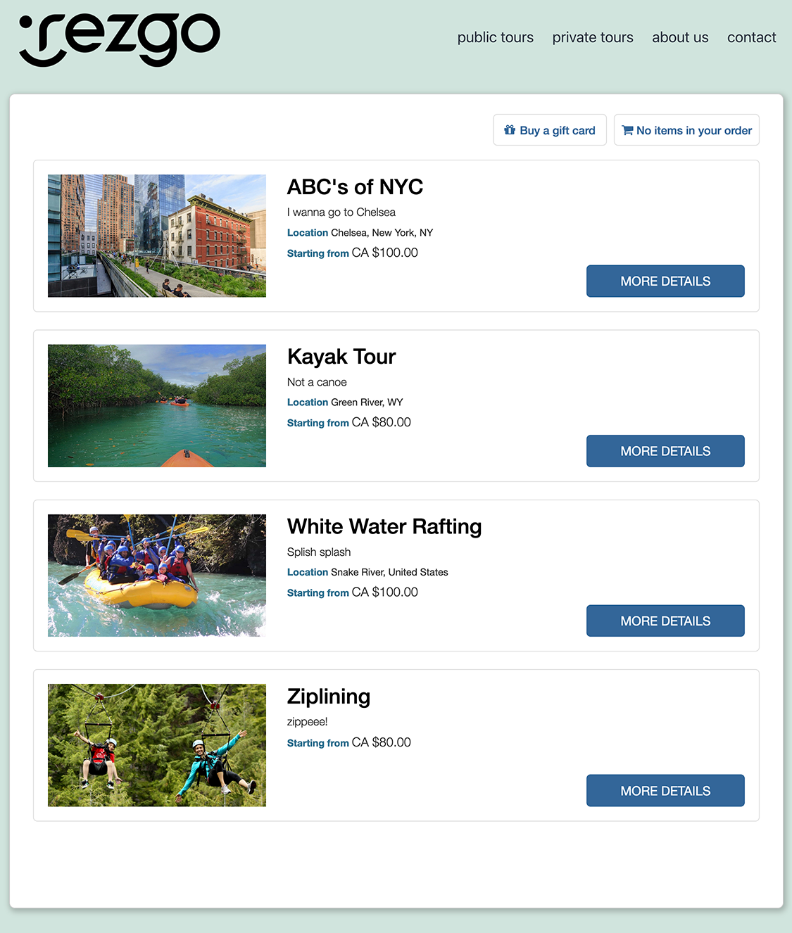 Your tours and activities will display in a list on your default tour page.
