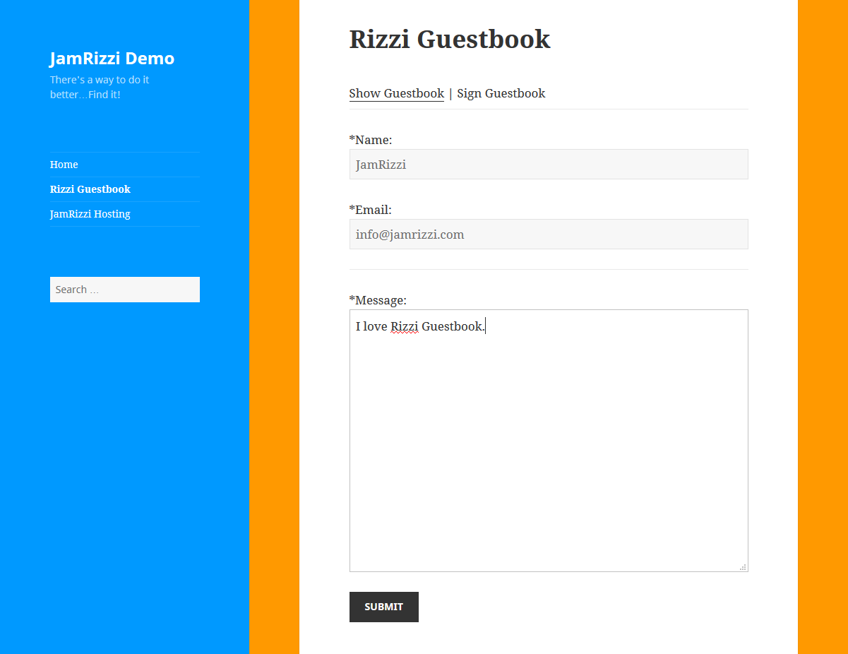 rizzi-guestbook screenshot 3