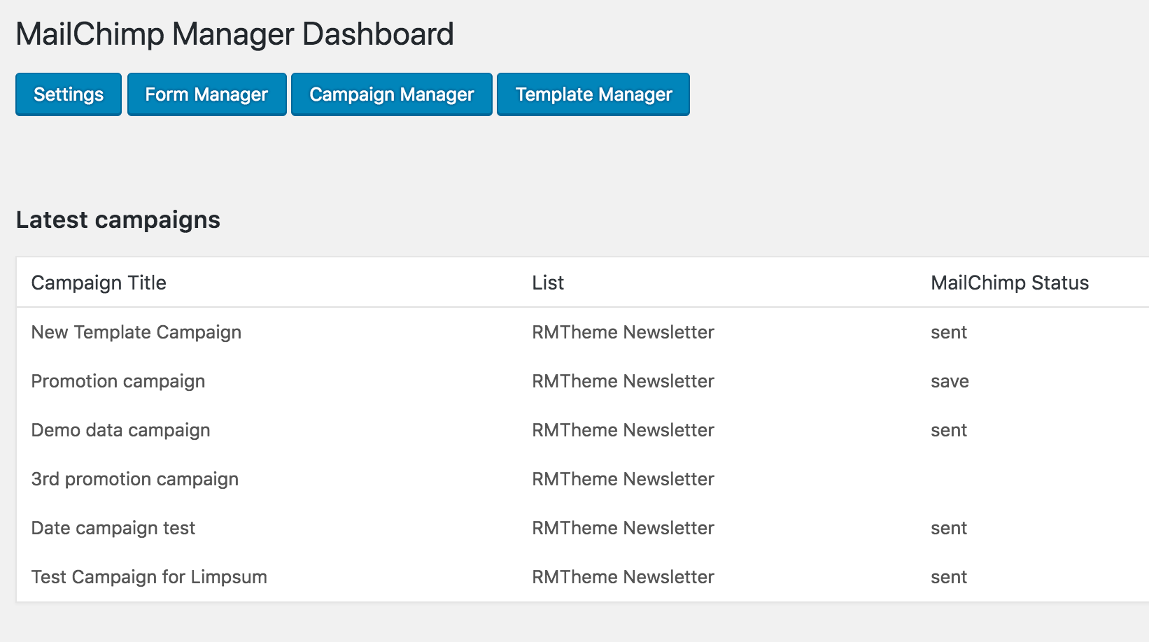 Mailchimp manager dashboard with latest campaign lists.