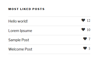 This is the widget show posts based on like counts in front end