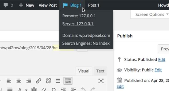 The blog info menu extended with alerts underlined. Mouse over alerts to see an explanation.