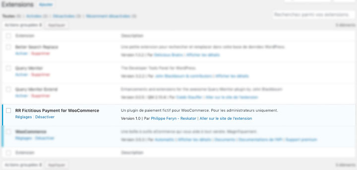 Fictitious Payment Plugin with settings link