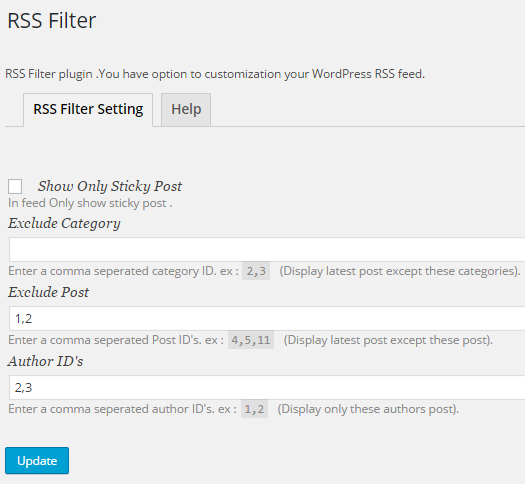 rss-filter screenshot 1