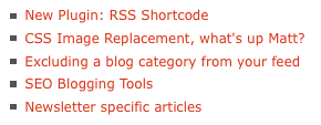 A simple listing of posts created by the RSS Shortcode.