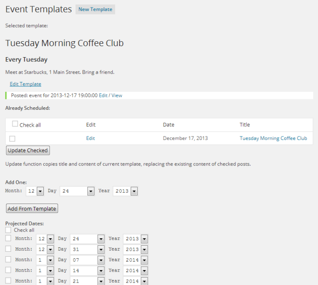 Popup editor assists with placing the calendar/event listing shortcode on a page.