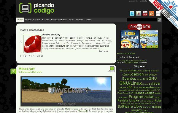The RubyConf Uruguay ribbon on my blog.