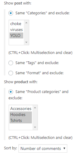 Option to exclude categories (and terms) and filter by popular posts (by comment count).