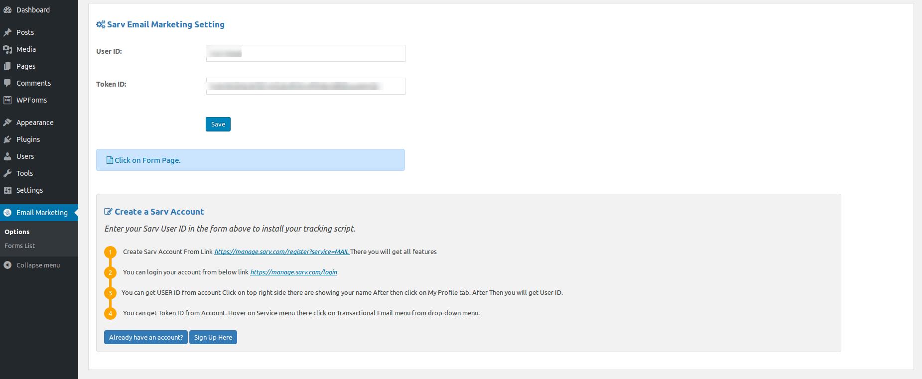 pAdmin Page - Sarv Account Information/p