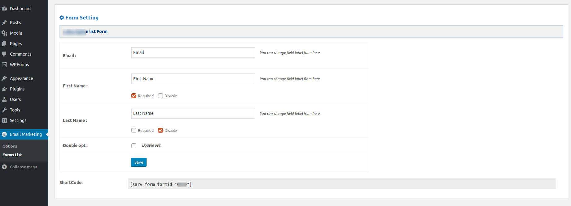pAdmin page - Form Settings/p