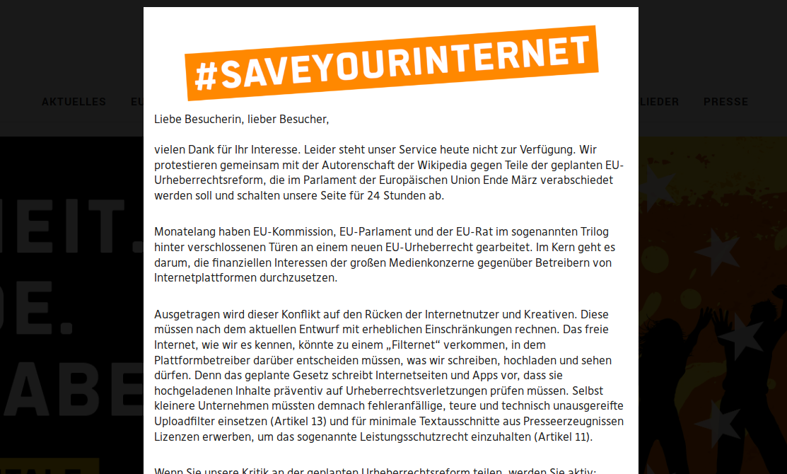 SaveYourInternet Protest Page