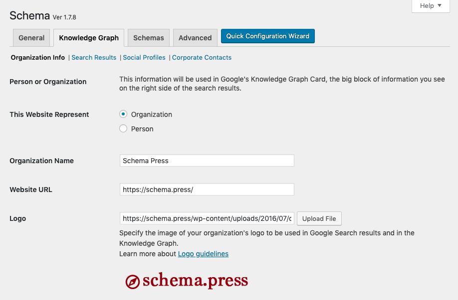 Create new schema type screen.
