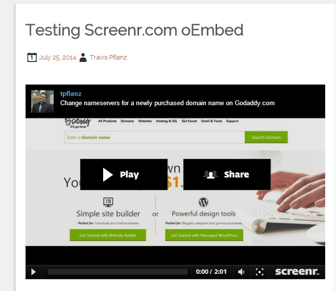 Example of Screenr video oEmbeded into a blog post
