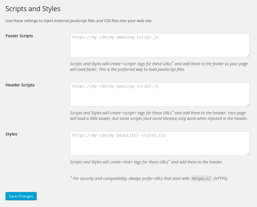 The Scripts and Styles Admin Settings make it easy to inject JavaScript and CSS files by URL.