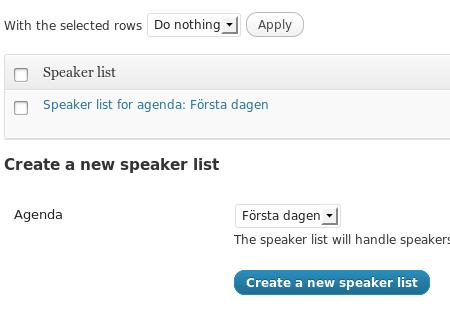 """Talarlistan för agendan """"Första dagen""""."""