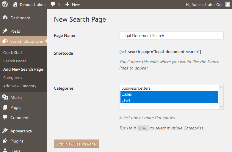 Create a New Search Page The example shows how the shortcode is generated from the Page Name. Two Categories are assigned.