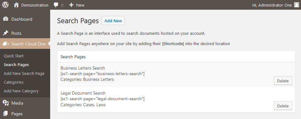 Manage Search Pages Your Shortcodes are listed here.
