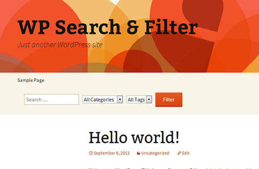 Minimal example of Search & Filter embedded in the header