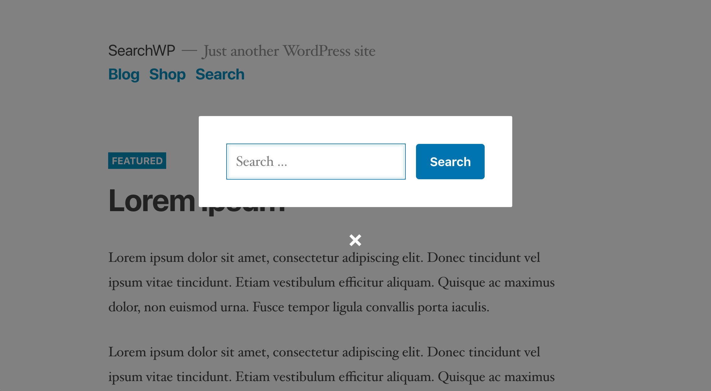 SearchWP Modal Search Form adapts to your theme