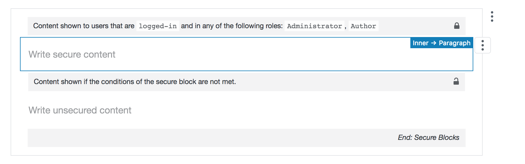 The Secure Block interface reflects the user roles you choose