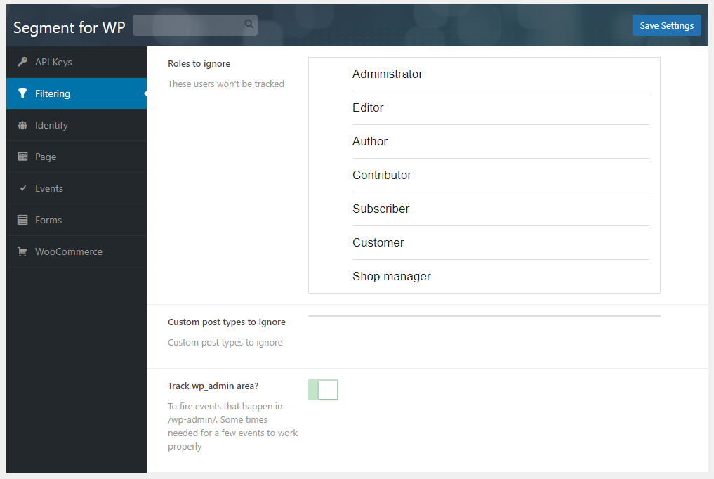 Ability to filter out roles, custom post types and the admin area