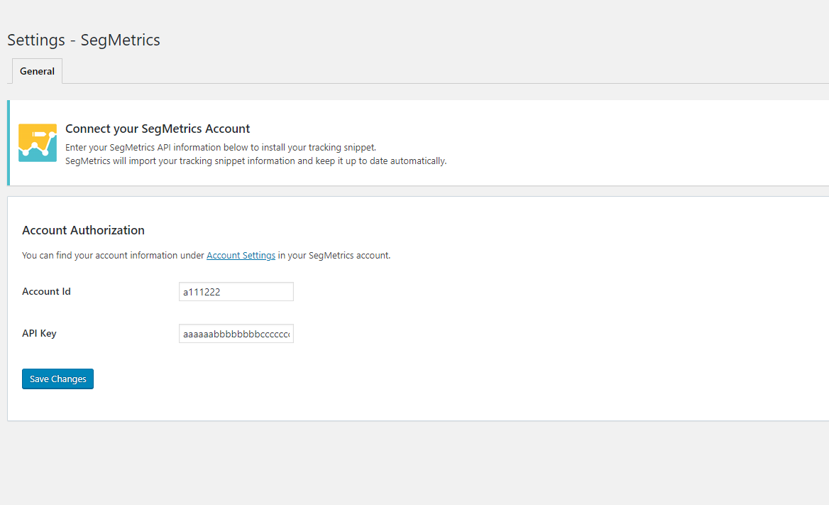 Find your Account ID & Api Key in your SegMetrics account under <strong>Settings</strong> > <strong>Account</strong>