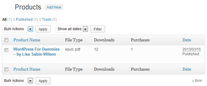 Sell Downloads Product Section