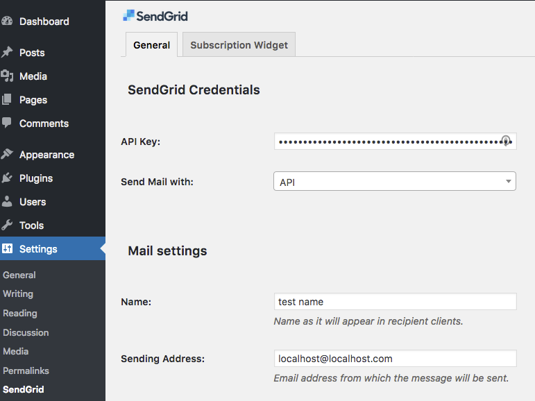"""Go to settings page and provide your SendGrid API Key. On this page you can set also the default """"Name"""", """"Sending Address"""" and """"Reply Address""""."""