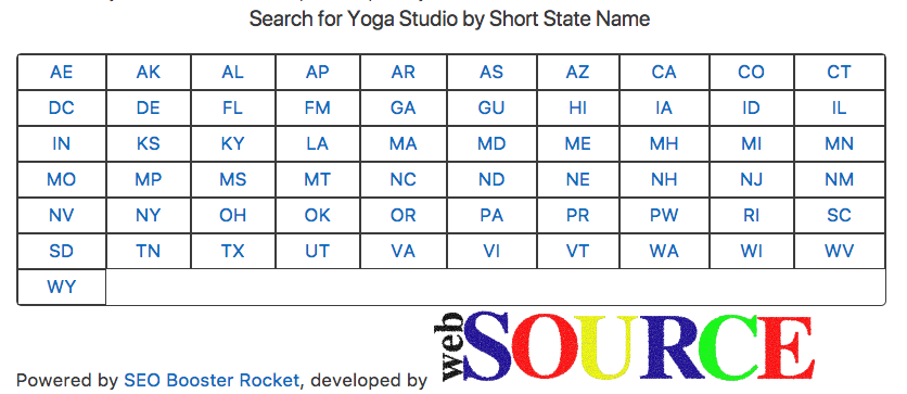 <p>The [seo_booster_rocket_process_requests] shortcode also displays every state/territory using their respective short name. Each of these links are clickable and lead into the individual states/territory's counties.</p>