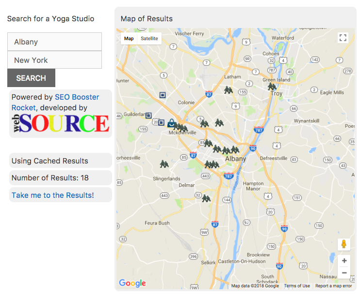 <p>Once you click on a specific City/Town you'll then be sent to a search results page that contains a filled out search form, a map with results for your selected topic.</p>