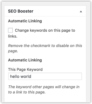 Finetune controls per page. Enter post keyword or turn off automatic linking.