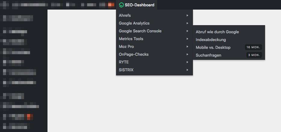 Das SEO-Dashboard in deiner Werkzeugleiste
