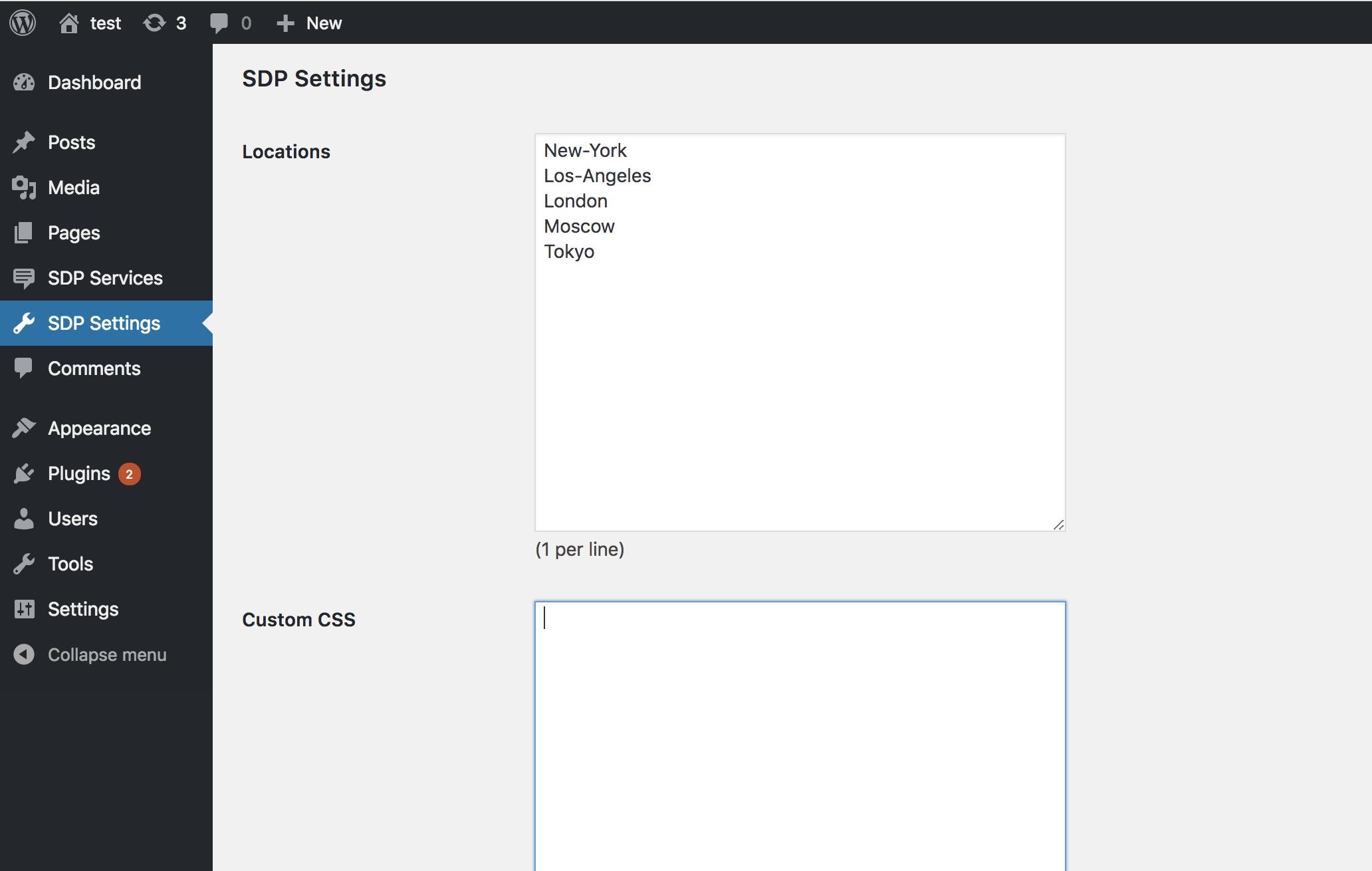 Setup locations and custom CSS