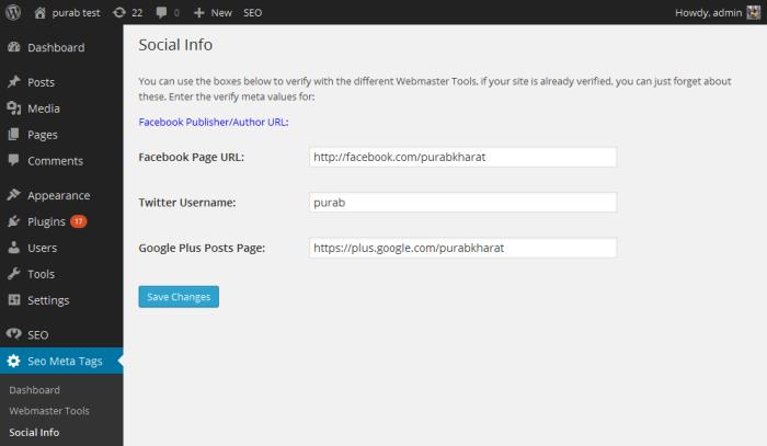 Preview of Seo Meta Tags admin panel Dashboard