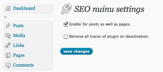 Screenshot of SEO nuinu settings.