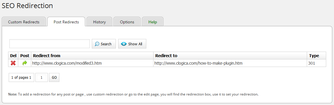 Redirected posts via the Redirection Box.