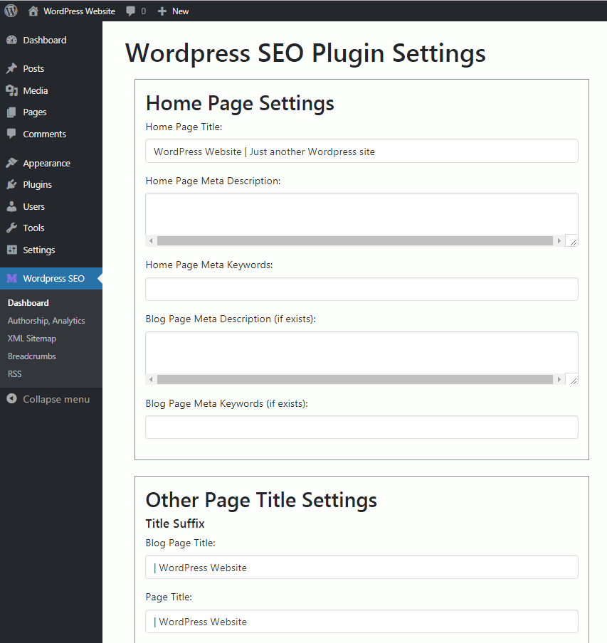 Wordpress SEO Settings Page