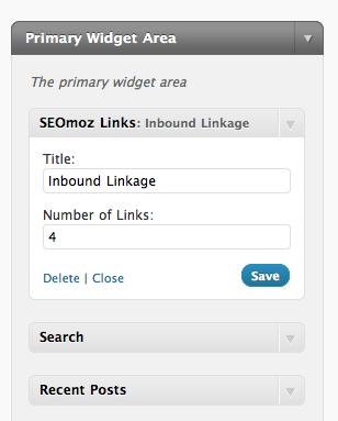 Configuring the inbound link widget.