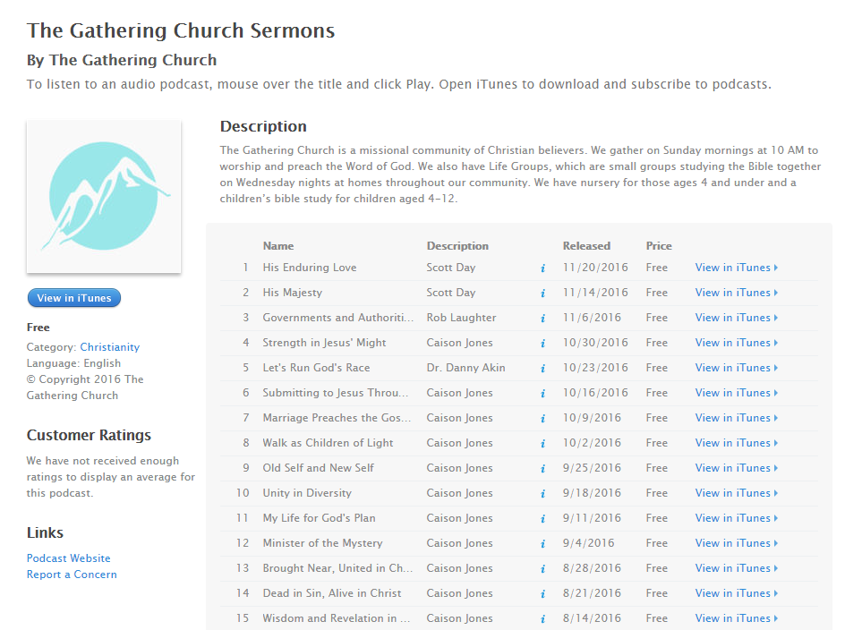 Example of a podcast feed generated by iTunes Podcast for Church Theme Content.