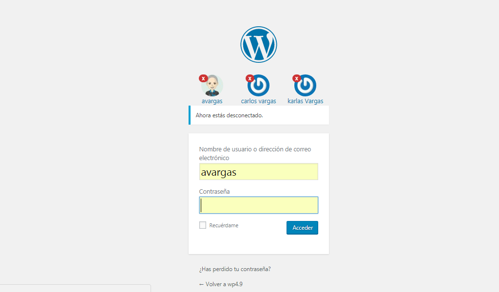 When you start a session with a wordpress account, this logged-in user is saved and when you close the session you can view it as shown in the screenshot, thus clicking on the avatar will insert the user name in the field but not the password. security