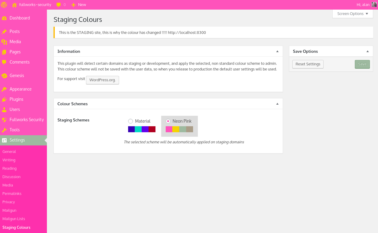Auto Set Admin Colour on Staging and Dev
