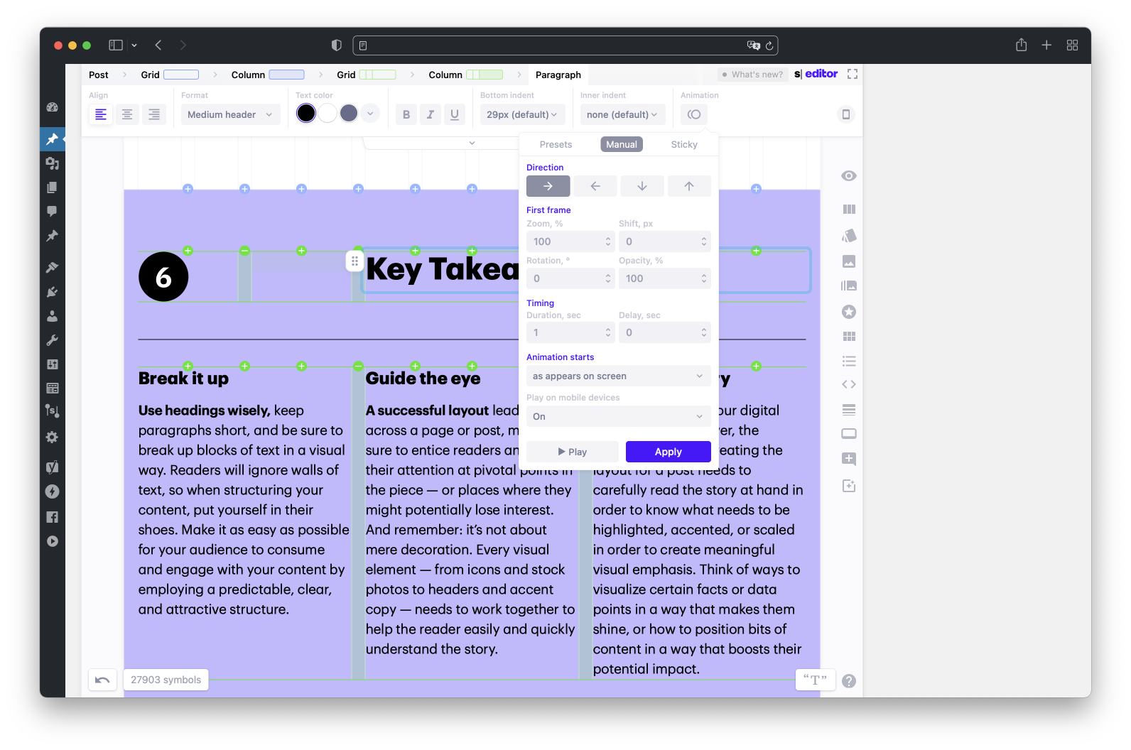 Animate text, icons, images, orwhole blocks ofcontent.