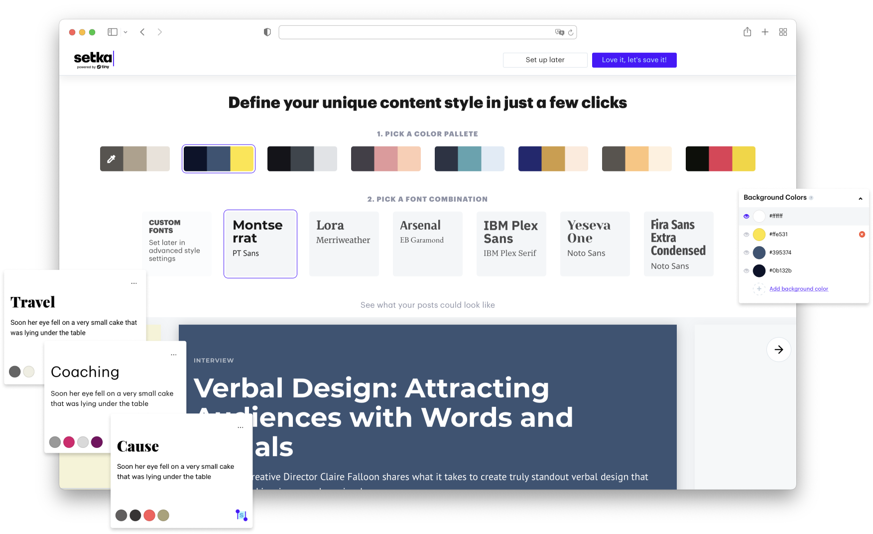 Define your unique content styles inside our Content Design System Manager.